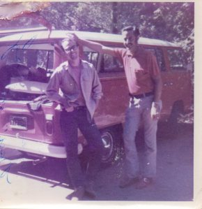 Dad (on the right) and our 1969 VW bus